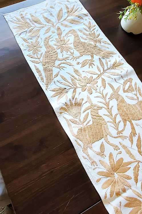 otomi fabric, mexican embroidered, otomi textile, otomi tablerunner, mexican textile, mexican linens, otomi hand embroidered,