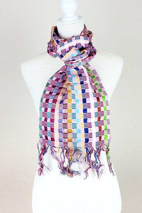 Scarf woven in multicolor, handwoven in backstrap loom
