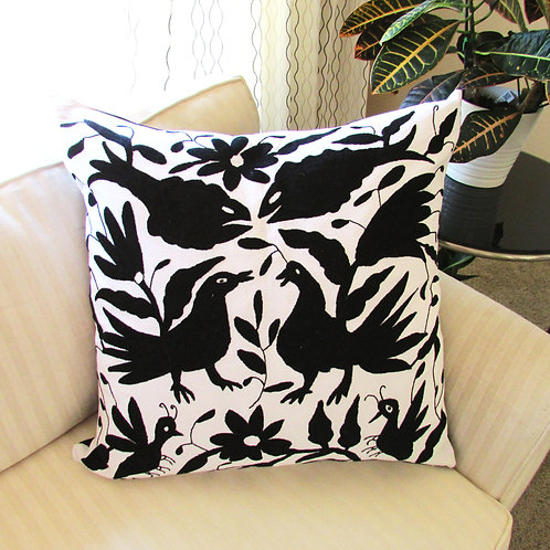 otomi pillow, otomi fabric, mexican embroidery, mexican hand made, pillow white, mexican pillow, pillow cover, pillow embroid