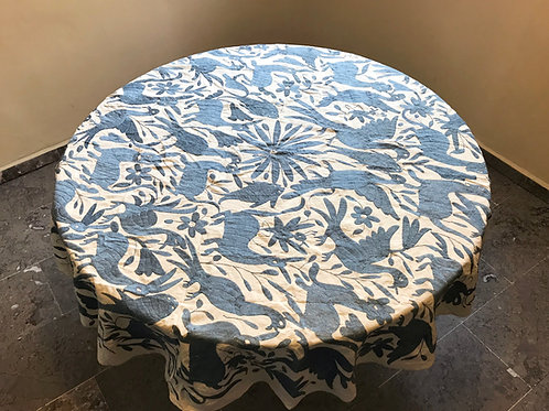 mexican fabric, mexican crewel embroidery, otomi blue-gray tablecloth, mexican tablecloth, mexican hand-embroidery, tableclot