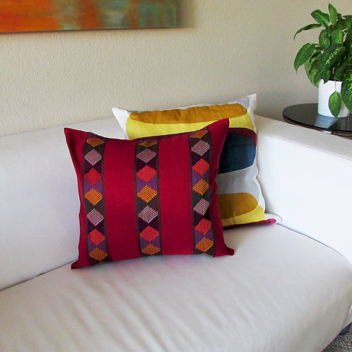 pillow cover red wine, pillow, mexican fabric, maya textile, chiapas embroidered, mexican hand made, mexican fabric, mexican
