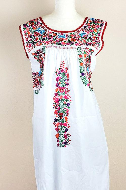 Oaxaca Dress white tone, Muticolor hand embroidered silk threads