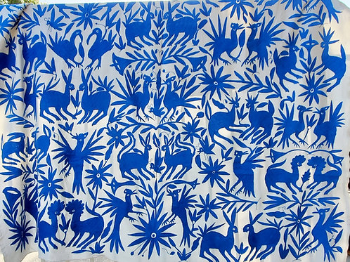 mexican fabric, otomi tablecloth blue on white, mexican handmade, mexican crewel embroidered, tablecloth mexican.
