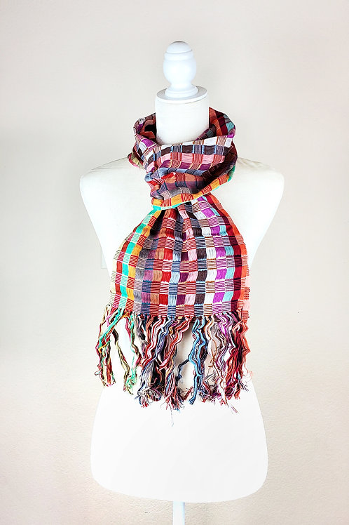 Scarf light multicolor hand-woven in backstrap loom from Chiapas