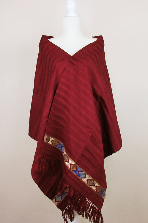 Shawl color red wine, mexican fabric, mexican rebozos, mexican shawl, handwove shawl.
