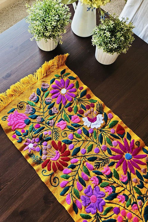 Table Runner Ocher multicolor floral embroidered.