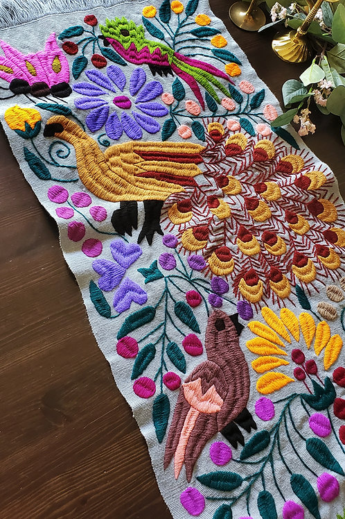 Table Runner, Gray hand-embroidered, with Peacocks, flowers and