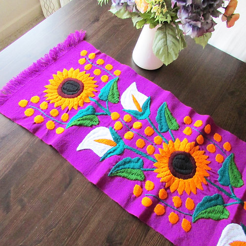 Mexican Table Runner, Mexican fabric, Sunflower runner, Mexican Tapestry, Mexican embroidery, Maya textile, mexican textile
