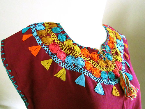 red wine blouse, blouse handmade, mexican crewel embroidered, mexican textile, chiapas fabric, mexican blouse, colorful
