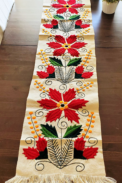 Poinsettia Table Runner woven in backstrap loom, beige  color.