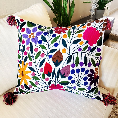 mexican textile, mexican hand made, pillow mexican, colorful flowers, pillow white, chiapas fabric, mexican fabric, mayan tex