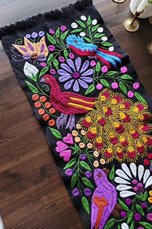 birds, flowers, chipas, mexico, mexican textile, hand made, hand woven, backstrap loom , black,peackocs