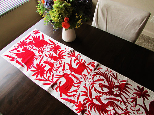 Otomi table runner, Otomi red embroidery, Red table runner, mexican table runner, mexican embroidery, mexican textile,
