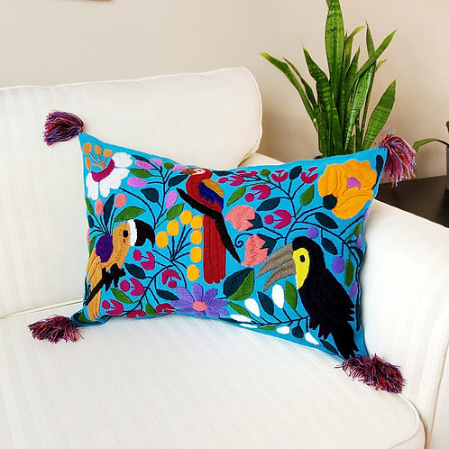 birds, flowers, pillows cover, pillow case, hand made, hand woven, chiapas, mexico textile,textil, embroidery