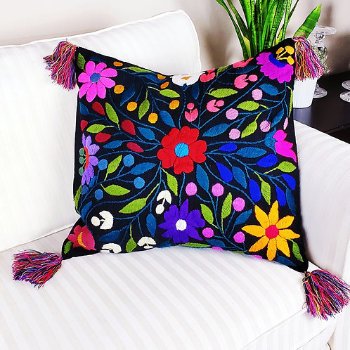 Chiapas Pillow Black  tone flowers pattern hand embroidered