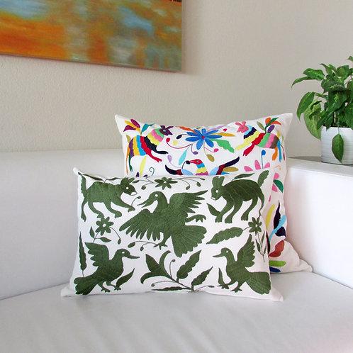 "Otomi Lumbar Pillow Cover Green 20""x13"" on natural color cotton fabric."