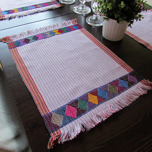 placemats woven, mexican fabric, white placemats, mexican white linens, mexican tablecloth, mexican table linens.