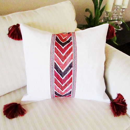 mayan pillow, pillow mexican, mexican fabric, mexican handmade, chiapas, mexican crewel embroidered.