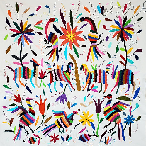 Otomi embroidered fabric, multicolor
