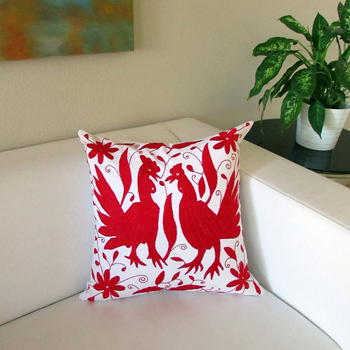 pillow red, pillow, otomi pillow cover,  otomi fabric, pillow cover, mexican embroidery, mexican textile, mexican pillow