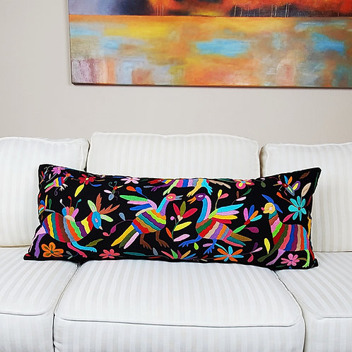 """Otomi Lumbar Pillow Cover 36""""x15"""" multi embroidered on black manta fabr"""