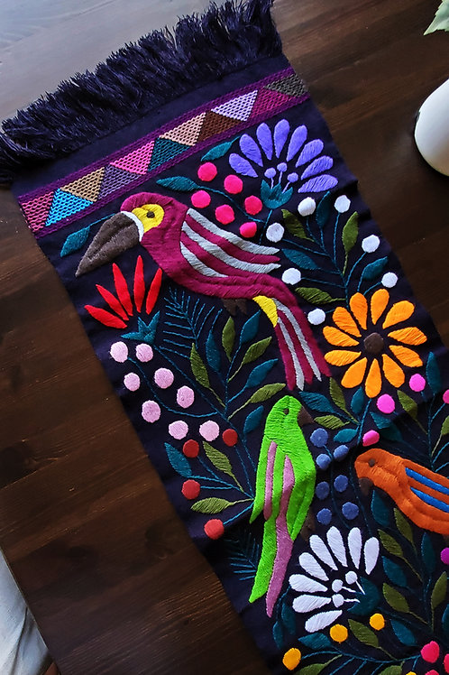 Mexican Tapestry, mexican table runner, black toucan runner, upholstery mexican fabric, mexican embroidered, mayan textile,