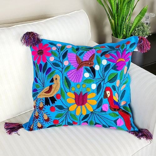 Chiapas Pillow Blue tone with birds and flowers hand embroidered, Chiapas