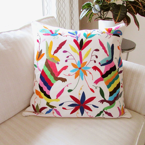 pillow multicolor, pillow, pillow hand emboidered, otomi pillow cover,  otomi fabric, pillow cover, mexican embroidery, mexic