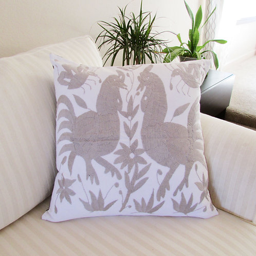 "Otomi square Pillow cover 18""x18"" Ligh grey hand embroidered on white fabric"