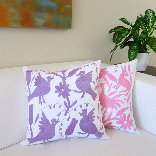 """Otomi pillow cover 18""""x18, violet color hand embroidered on white cotton fabric."""