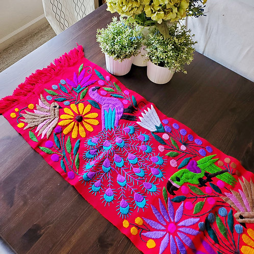 mexican textile, backstrap loom, hand made, hand woven, hand embroidery, peacocks, animals, birds, flowers, table runners