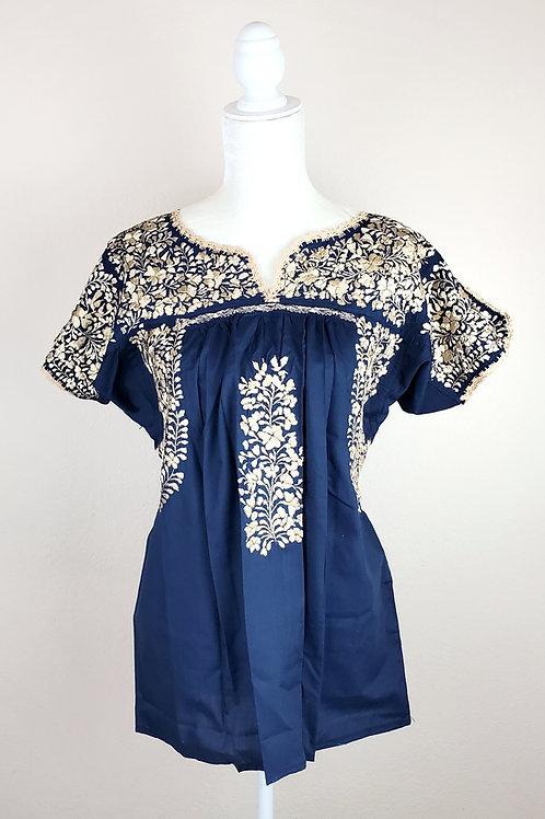 Oaxaca Blouse Navy tone, beige tone hand embroidered silk threads