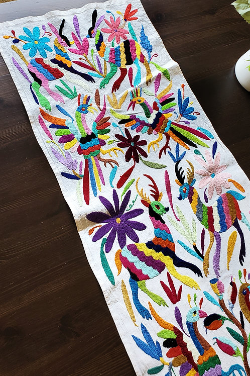 Otomi table runner, mexican embroidered, Otomi embroidered, Tenango, Otomi fabric, Mexican textile