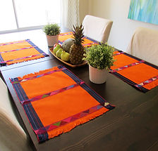 Maya Placemats orange handwoven in backstrap loom- Placemats - Arte de Mi TIerra