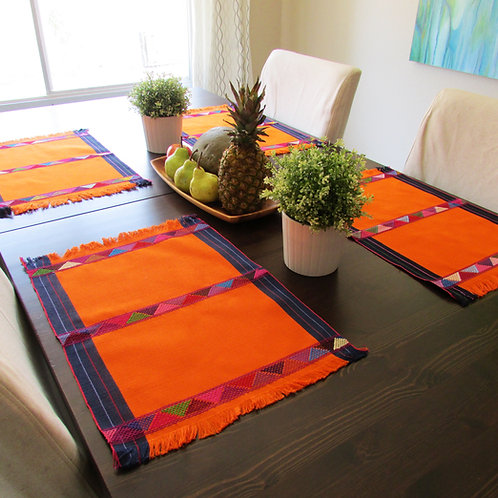 orange placemats, mexican fabric, mexican orange linens,mexican tablecloth, mexican placemats.