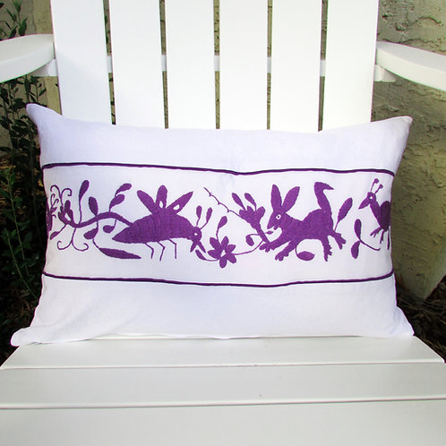 birds, animals, flowers, purple, otomi, pillows cover, pillows, hand made, hand woven, textile, mexican, mexico, alebrijes, w