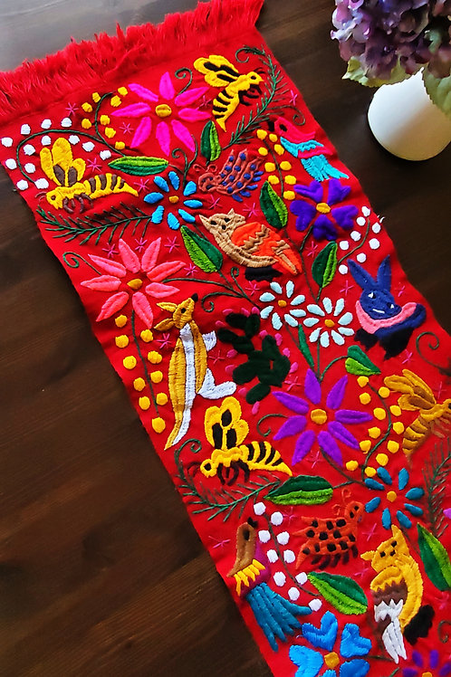 Table Runner red Hand-woven and embroidered with little animals
