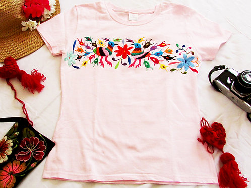 Otomi t-shirt Pink cotton and Multicolor hand embroidery round neck, fromTenango