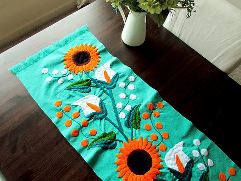 sun flower, mexican textile, mexican crewel embroidery , mexican hand made, chiapas fabric, table runner green aqua