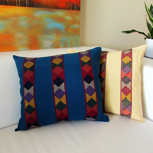 mexican textile, mexican hand made, pillow blue, mayan textile, chiapas fabric, mexican fabric, mexican embroidery, maya