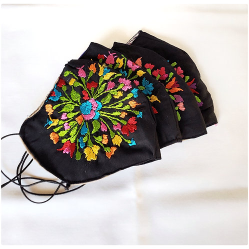 Oaxaca Facemask black fabric with colorful silk threads hand-em