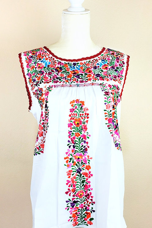 Oaxaca Blouse white tone, multicolor hand embroidered silk threads no sleeves