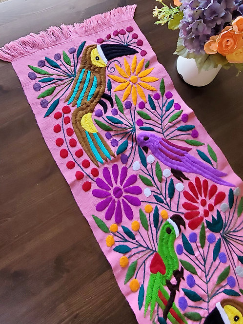 Table Runner Pink Hand-embroidered, with Toucans flowers and bi