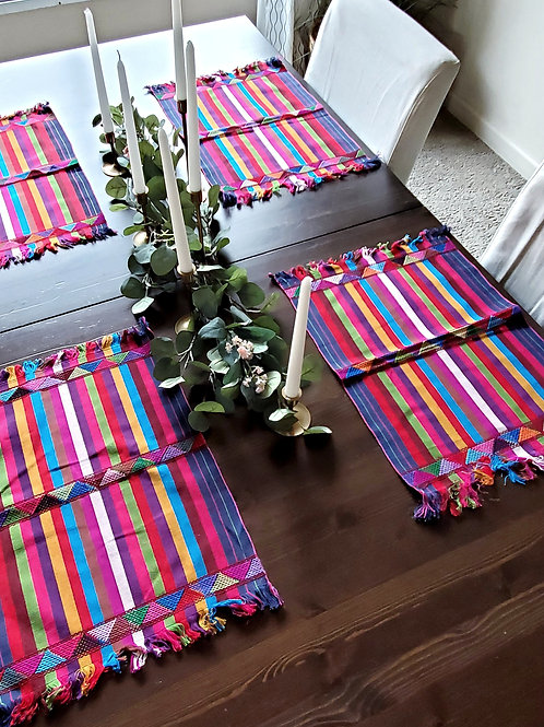 Placemats multicolor, 4 pieces by set, weave in backstrap
