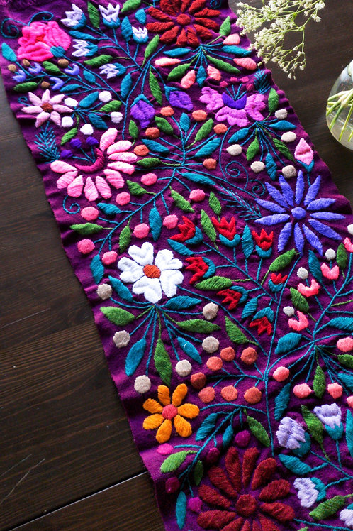 Table Runner Purple deep floral pattern multicolor hand-embroidered