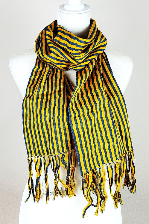 Scarf woven in Yellowand gray tone, handwoven in backstrap loom