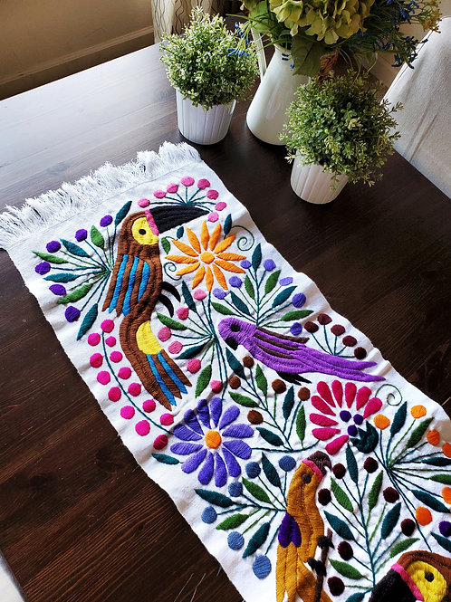 mexican textile, maya textile , table runner white, mexican toucans, flowers and birds, mexican embroidery, mexican hand made