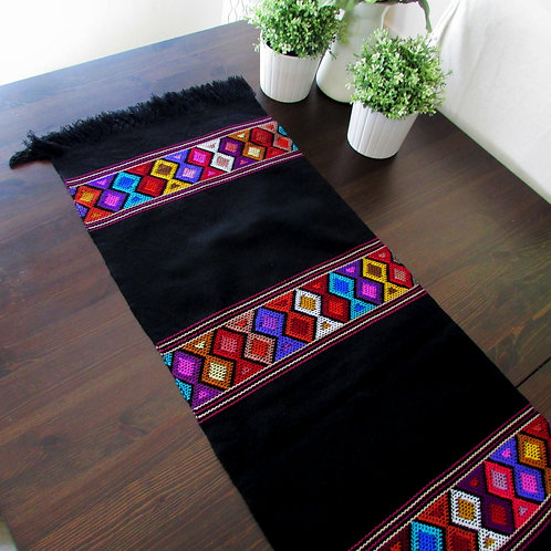 table runner, dark, tapestry, mexican hand woven, mexican fabric, mexican textile, maya textile, mexican embroidery, mexican
