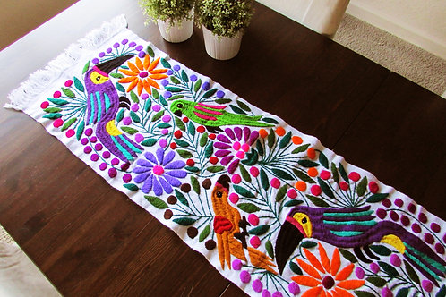 tapestry, table runner white, colorful toucans and flowers, mexican textile, mexican fabric, mexican hand made, embroidery