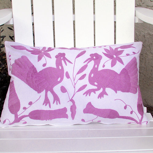 "Otomi Lumbar Pillow Cover 23""x14"" Light Purple"